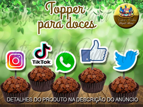 Redes Sociais 50 Tags Toppers Festa Aniversário