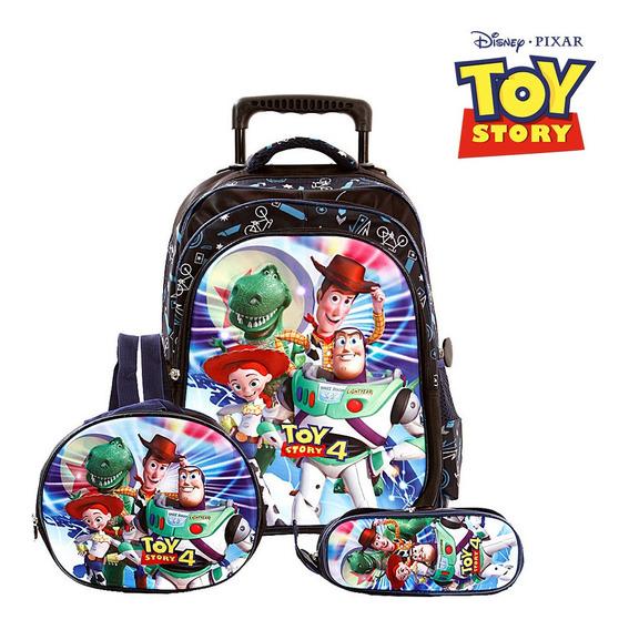 Kit Mochila Escolar Infantil 6d Com Led Colorido Toy Story 4