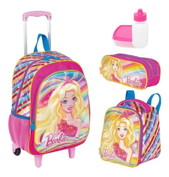 Mochila Barbie Kit Infantil Rodinha Lancheira Estojo Sestini