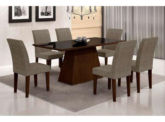 Conjunto De Mesa Luna Com 6 Cadeiras Grécia Castor Preto ...