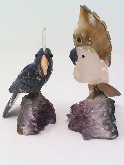Kit 2pássaros Pedras Semi Preciosas Aves Tropicais Ametista