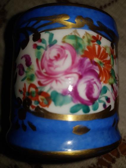Antiguo Palillero En Porcelana De Limoges, Decorado A Mano