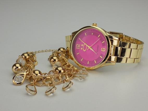 Kit Relógio Feminino Dourado+pulseira Bonito 100% Original