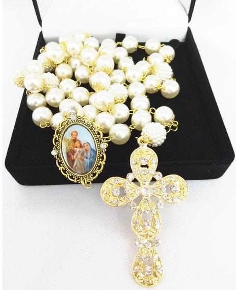 Terço De Noiva Banho Dourado Sagrada Família