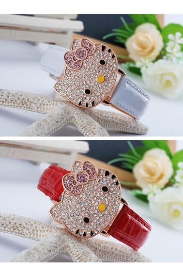 Reloj Hello Kitty Dama Carita Cristal Envio Gratis.