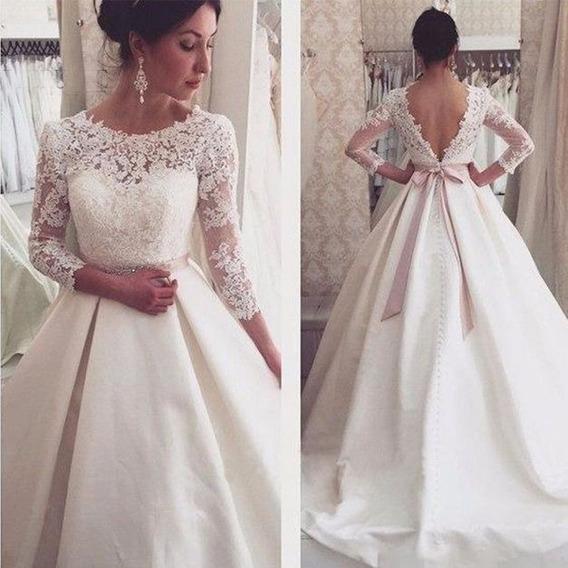 Vestido De Noiva Com Saia Em Cetim Julia Cinto E Cauda