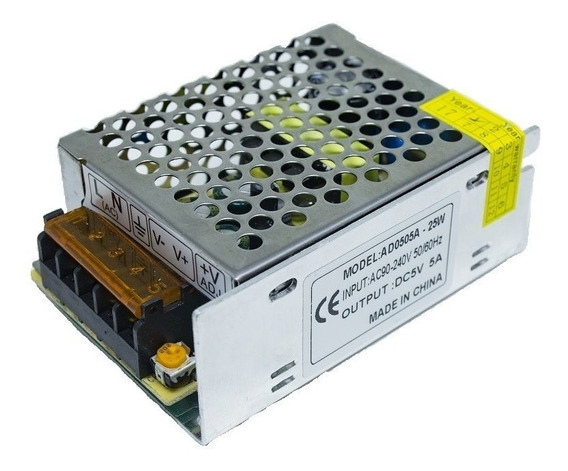 Mini Fonte Chaveada Bivolt Raspberry Pi3 - 5v5a - 85x59x38mm