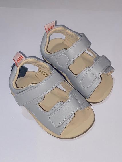Sandália Infantil Bibi Masculino De Couro Cinza Afeto Baby