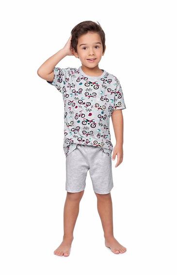Pijama Infantil Camiseta E Bermuda Motocicleta - Malwee