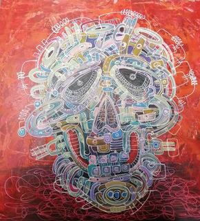 Pintura Mixta/loneta, Del Pintor Oaxaqueño Manuel Miguel