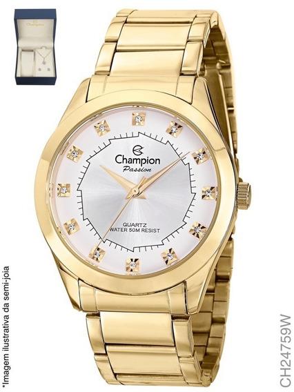 Relógio Feminino Champion Ch24759w Dourado + Kit Bijuteria