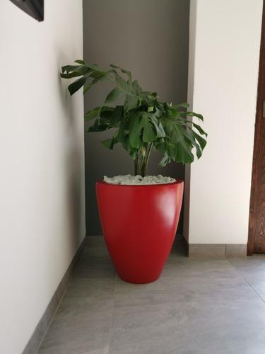 Maceta Moderna De Fibra De Vidrio Grecia Chica Roja