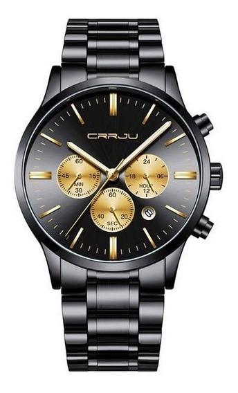 Relógio Masculino Cronógrafo Em Aço Executive Gold