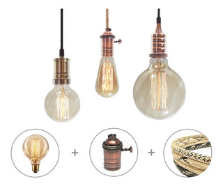 Lampara Filamento + Portalampara Vintage + Cable Textil 1m