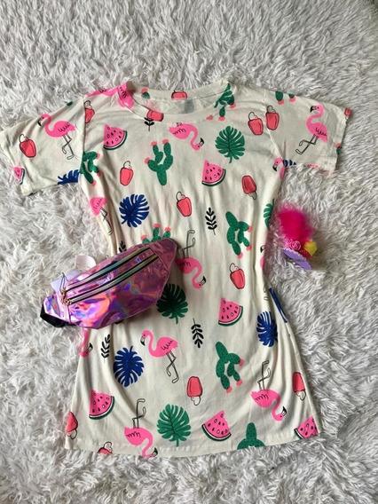 Vestido Camisao Abacaxi Moda Feminino Blusão Chemise Flaming