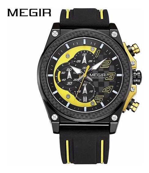Relógio De Pulso Masculino Esportivo Amarelo Estilo Militar