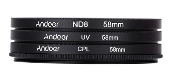 Kit Filtros 58mm Canon Nikon (uv + Cpl + Nd8) Pronta Entrega