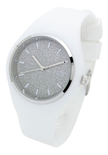 Reloj Knock Out Mujer 8469 R1 Silicona Wr Metal Glitter