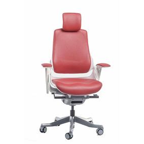 Cadeira Escritório Wau Super Ergonômica Em Vinil Vermelho