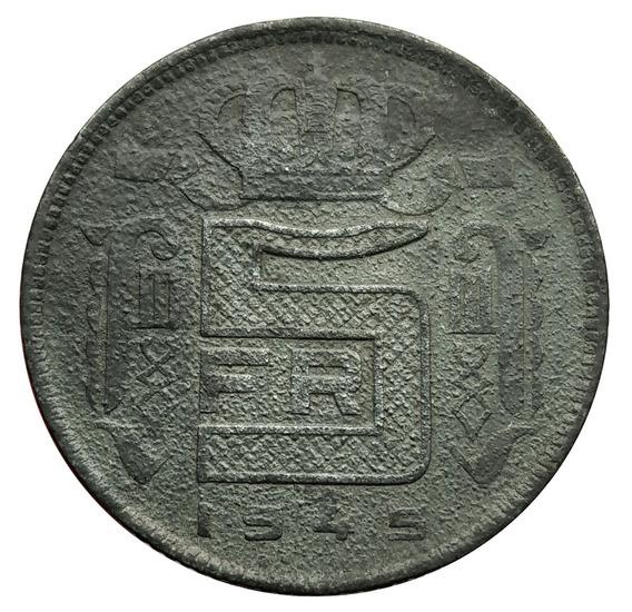 Ch C / Bélgica, 5 Francs 1945 Zinc- Km #129