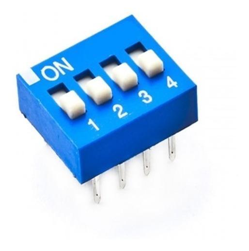 Chave Dip Switch Kf1001 4 Vias Azul 180º Com / 80pcs