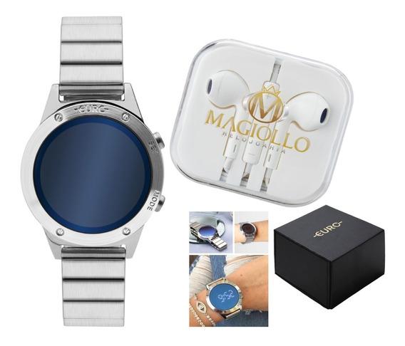 Relogio Euro Feminino Prata Aço Digital Led Azul Espelho Eujhs31baa/3a Sabrina Sato Original