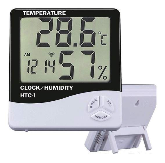 Hidrometro Termometro Digital Reloj Fecha Humedad Htc-1