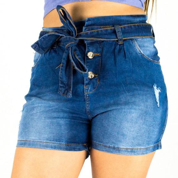 Shorts Sol Jeans Clochard Hot Pants Com Cinto E Lycra Azul