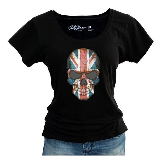 Camiseta Baby Look Feminina Caveira Bandeira Reino Unido