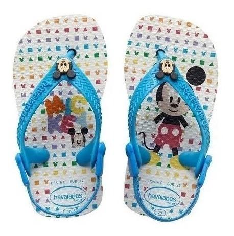 Chinelo Havaianas Baby Mickey Branco E Azul 19 - Disney