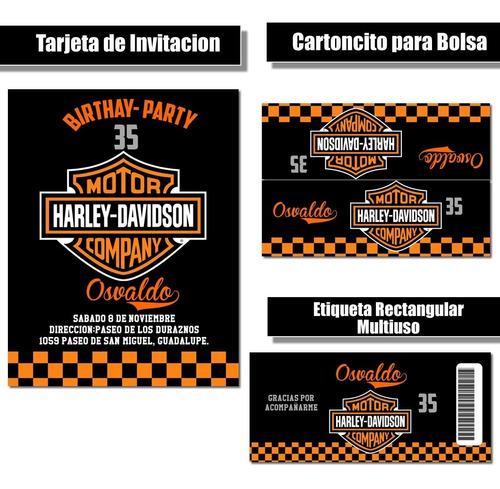 Imagen 1 de 4 de Kit Imprimible Harley Davidson Rr37 Candy Bar Cumple Fiesta