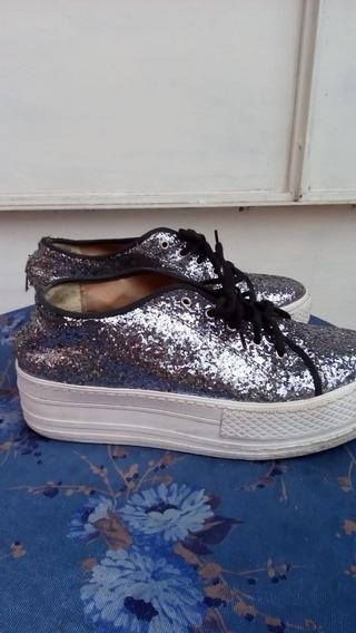 Zapatillas Con Glitter Plateadas Talle 40 Art 49
