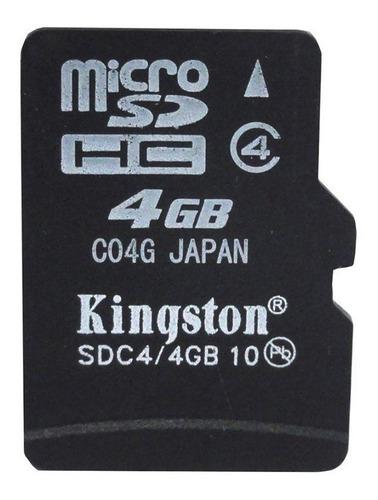 Cartão De Memória Microsdhc Kingston 4gb + 02 Adaptadores