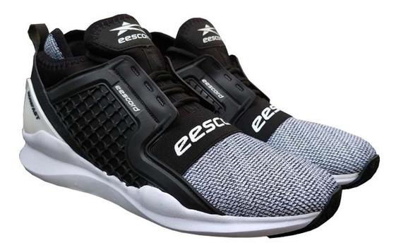 Tenis Deportivo Eescord Negro/blanco Hombre Caballero 3110 Correr Calidad Comodidad Evag