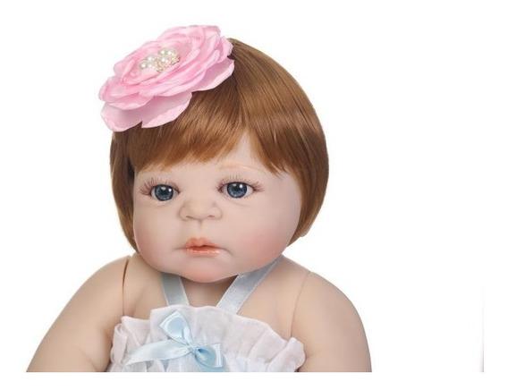 Bebe Reborn Boneca Toda Silicone Menina Ruiva 55cm Realista