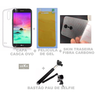 Capa Casca Ovo + Pel. Gel + Skin + Pau Self LG Novo K10 2017