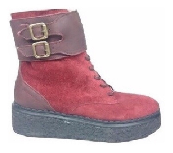 Zapato Mujer Borcego Natacha Bordó Con Hebillas #1441