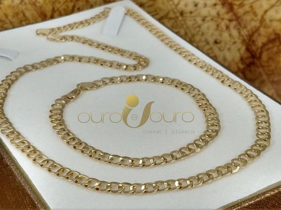 Cordão Feminino Redondo 45cm + Pulseira 18cm Top Ouro 18k