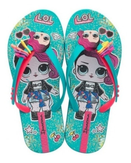 Chinelo Ipanema Lol Surprise Iii Infantil 26350 Verde Rosa