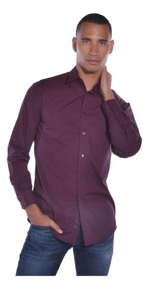 Camisa Regular Fit Calvin Klein Vino 17k4551-607 Hombre