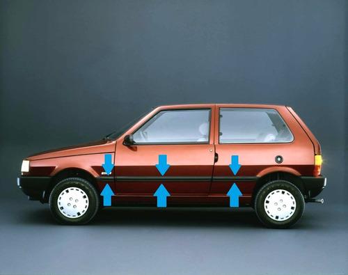 Fiat Uno Scr 3 Puertas Baguetas Anchas Negras (6 Piezas) !!!