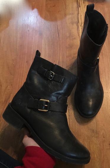 Zapatos Botas Tory Burch Piel Fina Negras 24.5 Originales!!