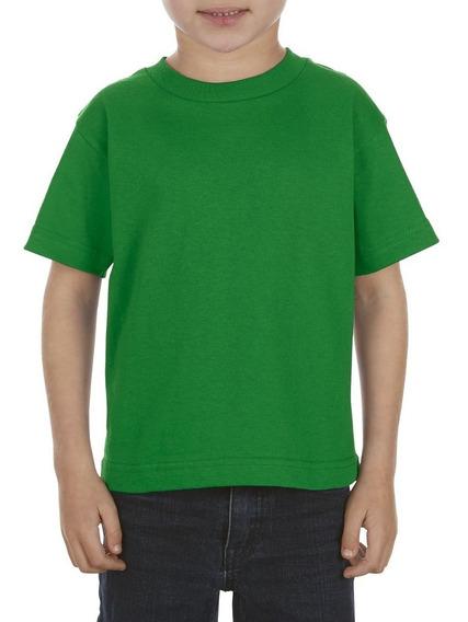 Paquete De 10 Playeras Para Niño Tallas 4 A 7 Color Verde