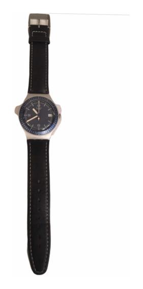 Swatch Irony 2001 Combinado Azul Y Aluminio Extencible Piel