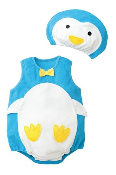 Kit 2 Peças - Body + Touca - Conjunto Infantil - Pinguim