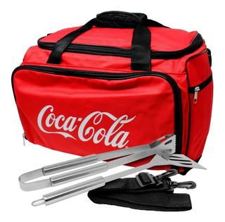 Hielera Coca Cola Cooler Bag Utensilios Asador Térmica