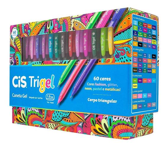 Caneta Gel Trigel 60 Cores Colorida Cis