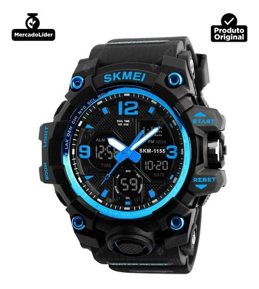 Relogio Masculino Digital Skmei|1155 Led Multi-função Sport Aprova D.água 50m Crono/ Alarme / Semana / Luz El/ Original