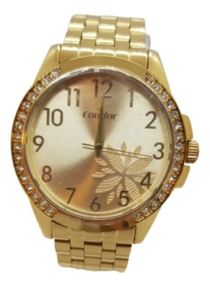 Relógio Feminino Dourado Condor + Brinde