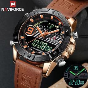 Relógio Masculino Naviforce Original Luxo Pulseira De Couro